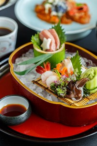 Tanabata -  Kaiseki, Tuna belly, sweet shrimp. Fish with white flesh, Japanese egg cockle