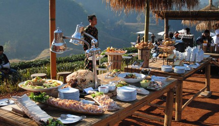 Gourmet breakfast on top of the hill by Dusit Thani chefs.