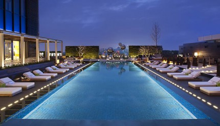 The hotel's attractive pool.