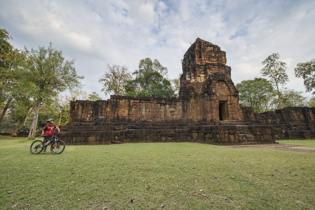 Bicyclist at Mueang Sing Historical Park near Kanchanaburi, Thailand