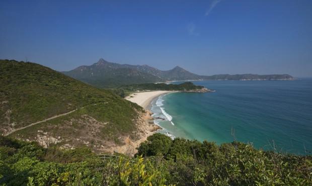 Beautiful Ham Tin Wan beach, seen from the MacLehose Trail, Hong Kong