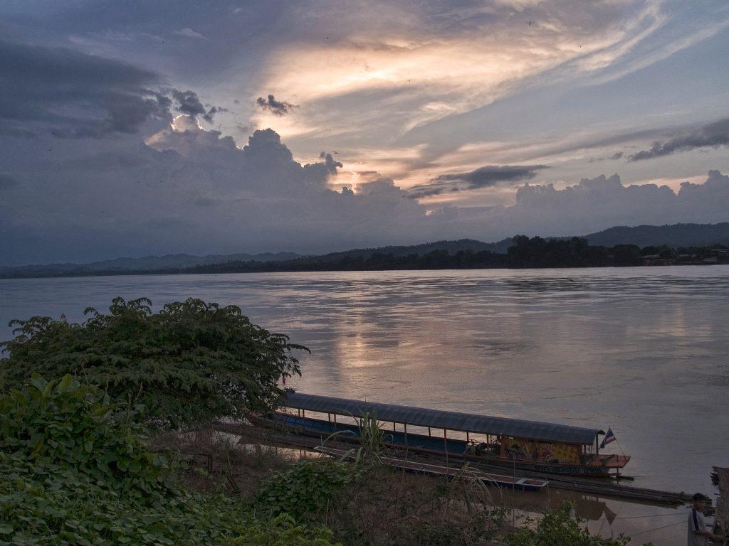 Mekong River sunset in Chiang Khan Thailand