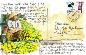 Postcard - full moon flowers